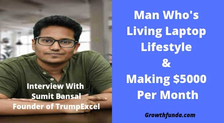Sumit Bansal making money blogging with excel blog trumpexcel