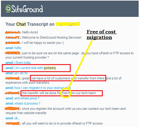 Chat history on how to migrate web hosting from Godaddy to Siteground