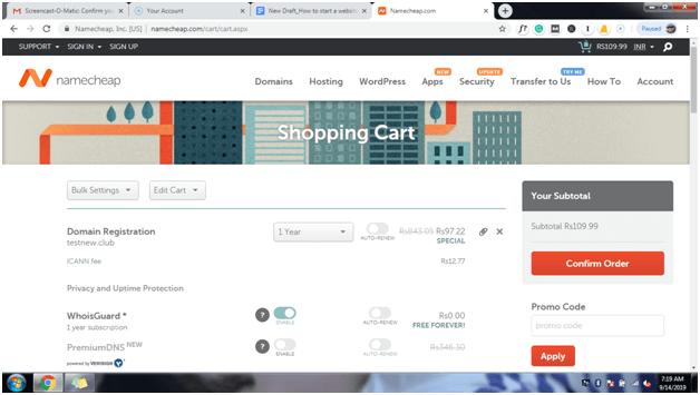 namecheop shopping cart