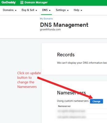 nameservers to configure website