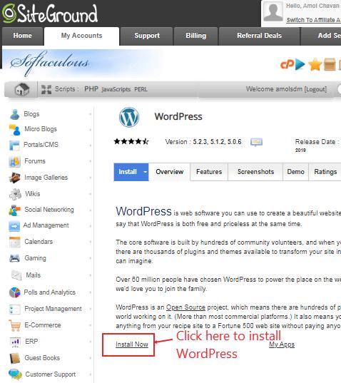 install wordpress to configure website